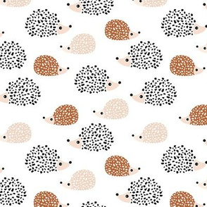 Scandinavian sweet hedgehog illustration for kids gender neutral black and white copper fall