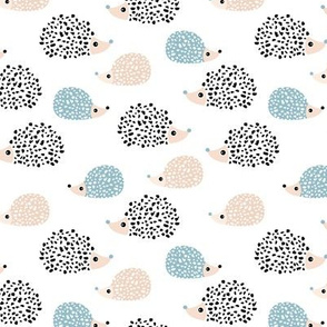 Scandinavian sweet hedgehog illustration for kids gender neutral black and white blue winter