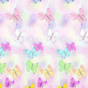 Butterflies on Soft and Tender Pink Background
