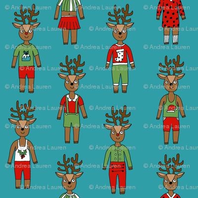 reindeer fashion fabric // cute reindeers, christmas fabric, holiday fabric, xmas fabric, cute christmas fabric, funny christmas fabric, andrea lauren fabric, andrea lauren design, - teal