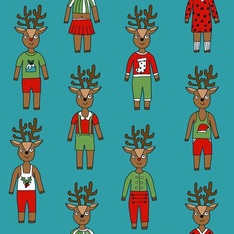 reindeer fashion fabric // cute reindeers, christmas fabric, holiday fabric, xmas fabric, cute christmas fabric, funny christmas fabric, andrea lauren fabric, andrea lauren design, - teal fabric by andrea_lauren on Spoonflower - custom fabric