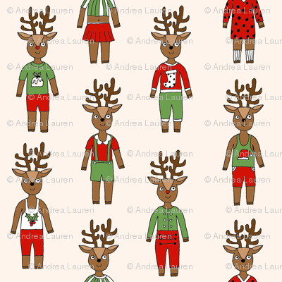 reindeer fashion fabric // cute reindeers, christmas fabric, holiday fabric, xmas fabric, cute christmas fabric, funny christmas fabric, andrea lauren fabric, andrea lauren design, - cream