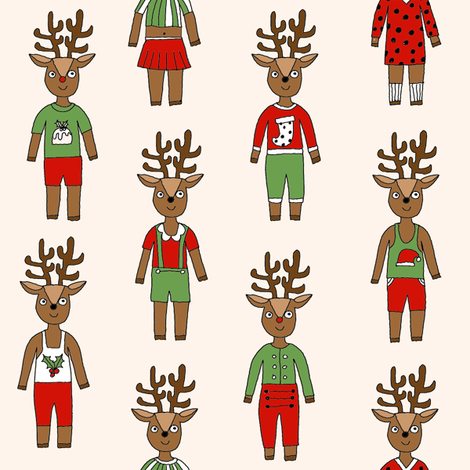reindeer fashion fabric // cute reindeers, christmas fabric, holiday fabric, xmas fabric, cute christmas fabric, funny christmas fabric, andrea lauren fabric, andrea lauren design, - cream fabric by andrea_lauren on Spoonflower - custom fabric