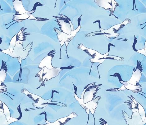 Immortal cranes  fabric by revista on Spoonflower - custom fabric