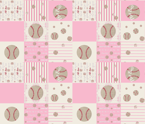 pink  baseball quilt 14 - wholecloth fabric by drapestudio on Spoonflower - custom fabric
