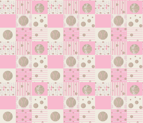 pink vintage  baseball quilt 14 - wholecloth fabric by drapestudio on Spoonflower - custom fabric