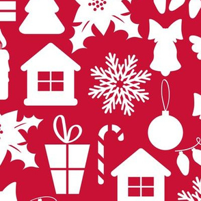 Christmas red pattern with elements