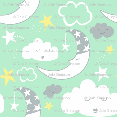 Nursery Moon Clouds (mint green)