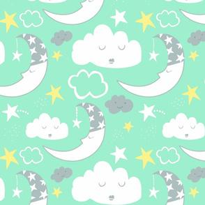 Nursery Moon Clouds (mint green)