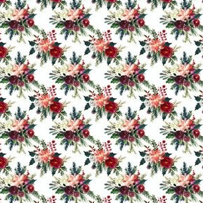 Classic Christmas Floral // White (Tiny Size)