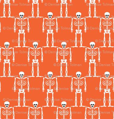 Skeletons Halloween on Orange