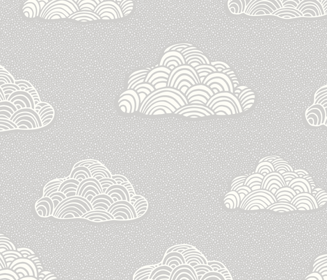 cumulus cloud jumbo scale - soft nursery gray fabric by dianakelleydesign on Spoonflower - custom fabric