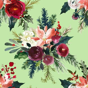 Classic Christmas Floral // Mint Candy
