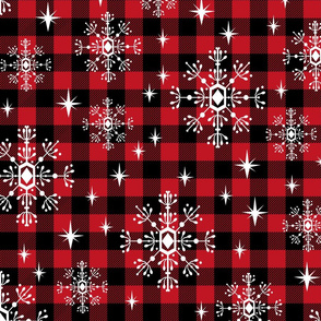 "LARGE - 1"" buffalo squares - buffalo plaid snowflakes winter christmas fabric snowflakes christmas plaid christmas fabric"