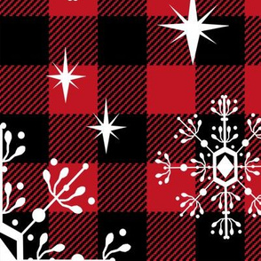 "EXTRA LARGE - 1.5"" buffalo squares - buffalo plaid snowflakes winter christmas fabric snowflakes christmas plaid christmas fabric"