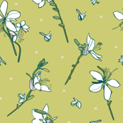 Dark Green white lily repeat pattern