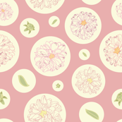 Rose & cream dot repeat pattern with dahlias.