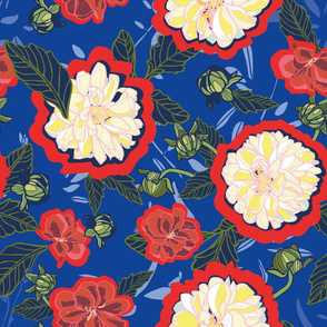 Blue repeat pattern with cream dahlias & red outline