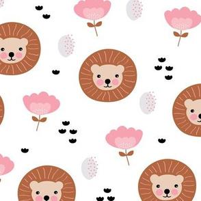 Cute kawaii lion cub safari flowers adorable baby animals illustration pattern girls white pink copper