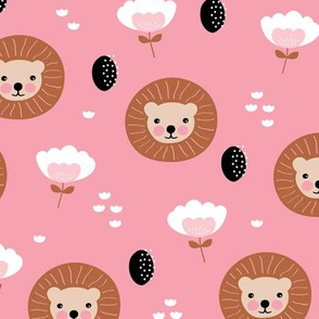 Cute kawaii lion cub safari flowers adorable baby animals illustration pattern girls pink copper
