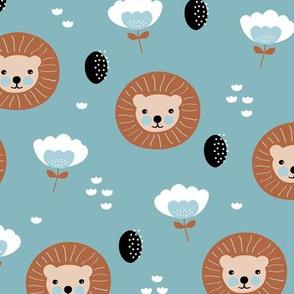 Cute kawaii lion cub safari flowers adorable baby animals illustration pattern gender neutral blue