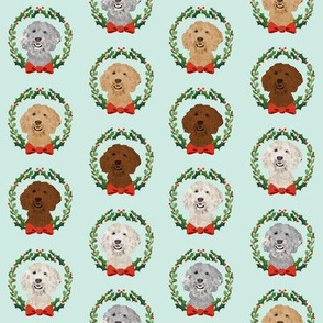 golden doodle christmas wreath // - christmas wreath fabric, dog fabric, christmas dog fabric, doodle fabric, golden doodle fabric, cute golden doodle dog, dogs, dog fabric - light blue