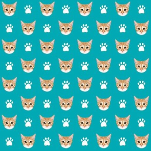 orange tabby cat fabric // cute orange cat, tabby cat fabric, cat fabric, cat lady fabric, cute cat, cat quilting fabric, cat fabric by the yard - turquoise