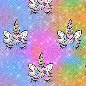 Glitzy bright Unicorn Rainbow glitter stars