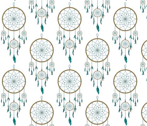 DreamCatchers in Green & Rattan fabric by babyancestree on Spoonflower - custom fabric