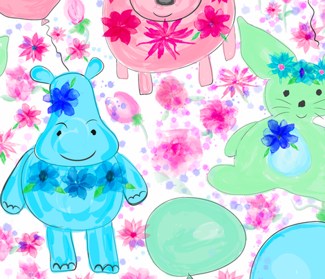 Hippo Hop fabric by orangefancy on Spoonflower - custom fabric