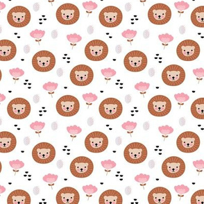 Cute kawaii lion cub safari flowers adorable baby animals illustration pattern girls white pink copper XS