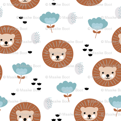 Cute kawaii lion cub safari flowers adorable baby animals illustration pattern girls white blue copper XS
