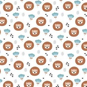 Cute kawaii lion cub safari flowers adorable baby animals illustration pattern girls white blue copper XS