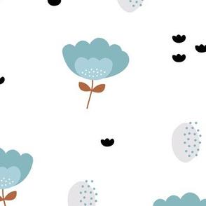 Sweet fall flowers Scandinavian trend illustration paper cut design blue copper JUMBO