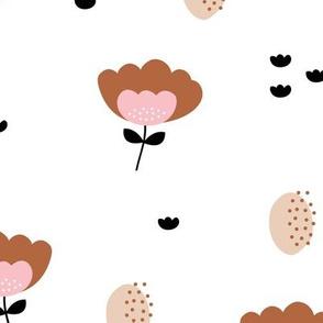 Sweet fall flowers Scandinavian trend illustration paper cut design pink copper JUMBO