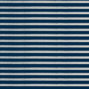 Breton Grunge Stripe Ecru on Navy Blue