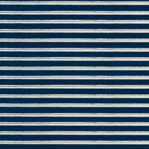 Breton Grunge Stripe Ecru on Navy Blue