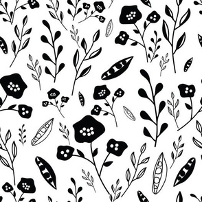 Black and white hand drawn flowers pattern