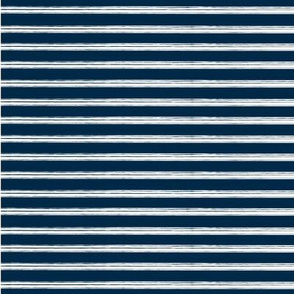 Breton Grunge Stripe White on Navy Blue