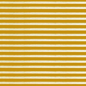 Breton Grunge Stripe White on Mustard