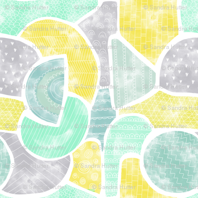 Abstract watercolor doodle shapes in gender-neutral colors