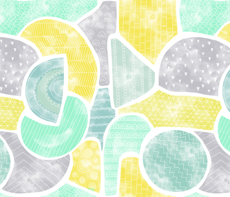 Abstract watercolor doodle shapes in gender-neutral colors fabric by sandra_hutter_designs on Spoonflower - custom fabric