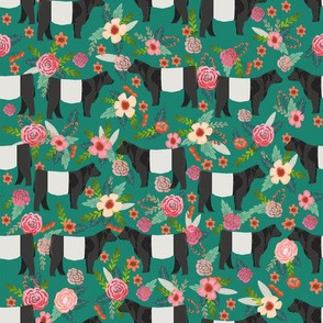 belted galloway floral cow fabric - floral fabric, cow fabric, cattle fabric, farm animals fabric, barn fabric, cattle fabric by the yard, cow fabric by the yard -  dark green