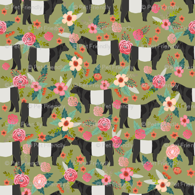 belted galloway floral cow fabric - floral fabric, cow fabric, cattle fabric, farm animals fabric, barn fabric, cattle fabric by the yard, cow fabric by the yard - green