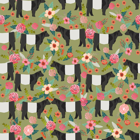 belted galloway floral cow fabric - floral fabric, cow fabric, cattle fabric, farm animals fabric, barn fabric, cattle fabric by the yard, cow fabric by the yard - green fabric by petfriendly on Spoonflower - custom fabric