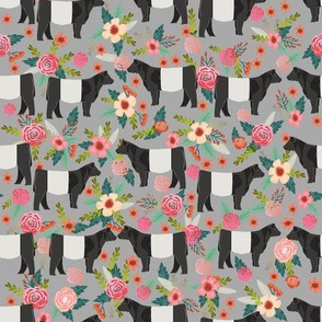 belted galloway floral cow fabric - floral fabric, cow fabric, cattle fabric, farm animals fabric, barn fabric, cattle fabric by the yard, cow fabric by the yard - grey