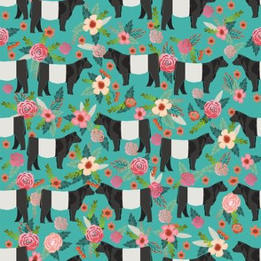 belted galloway floral cow fabric - floral fabric, cow fabric, cattle fabric, farm animals fabric, barn fabric, cattle fabric by the yard, cow fabric by the yard - teal