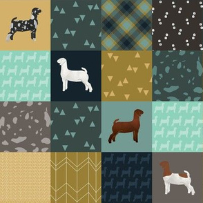 SMALL - Goat Mixed Breeds Cheater Quilt Teal