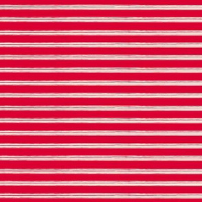 Breton Grunge Stripe Ecru on Red