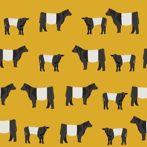 belted galloway fabric, belted galloway cow, cow fabric, cattle fabric, farm fabric, farm animals fabric, farm fabric by the yard, farm animals - yellow